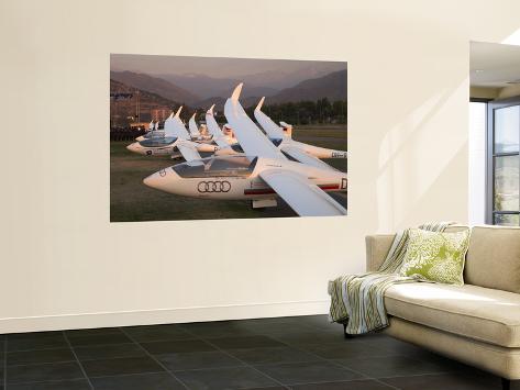 Last Light on Gliders at Fai World Sailplane Grand Prix, Vitacura Airfield, Santiago, Chile Wall Mural