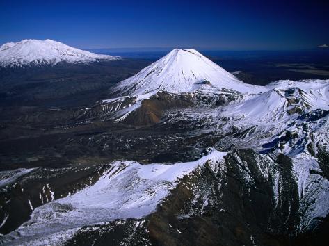 Mt. Ruapehu, Mt. Ngauruhoe and Mt. Tongariro, Tongariro National Park, New Zealand Photographic Print