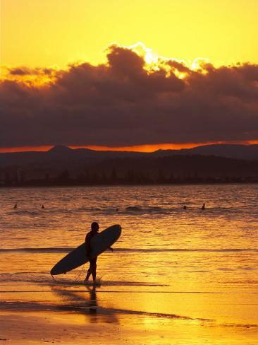 Person with Surfboard Walking along Beach at Sunset, Gold Coast, Queensland, Australia Photographic Print