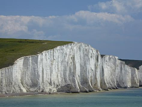 Seven Sisters Chalk Cliffs, Seen from Cuckmere Haven, Near Seaford, East Sussex, England Photographic Print