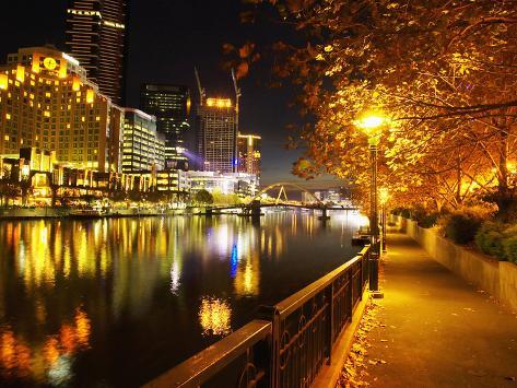 Southbank, Yarra River, and Flinders Walk, Melbourne, Victoria, Australia Photographic Print
