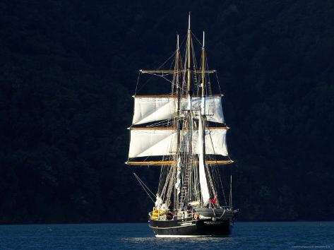 Spirit of New Zealand Tall Ship, Marlborough Sounds, South Island, New Zealand Photographic Print