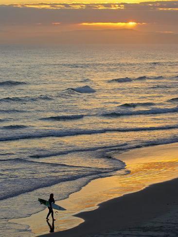 Surfer at Blackhead Beach, South of Dunedin, South Island, New Zealand Photographic Print
