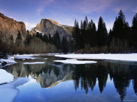 Half Dome Above River and Winter Snow, Yosemite National Park, California, USA Photographic Print