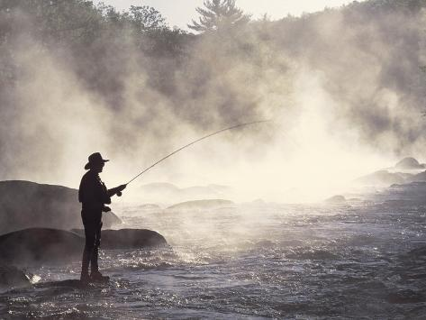 Man Fly-Fishing in Contoocook River, Henniker, NH Photographic Print