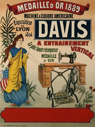 Davis, Machine a Coudre Americaine, circa 1894 Lámina giclée