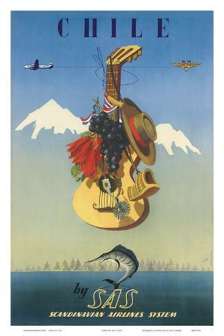 Scandinavian Airlines Chile, Gaucho Guitar, c.1951 Art Print