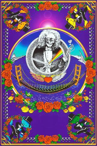 Deadheads Over The Golden Gate (Blacklight Poster - No Flocking) Poster