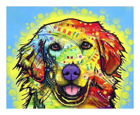 golden retriever art print - Dean Russo