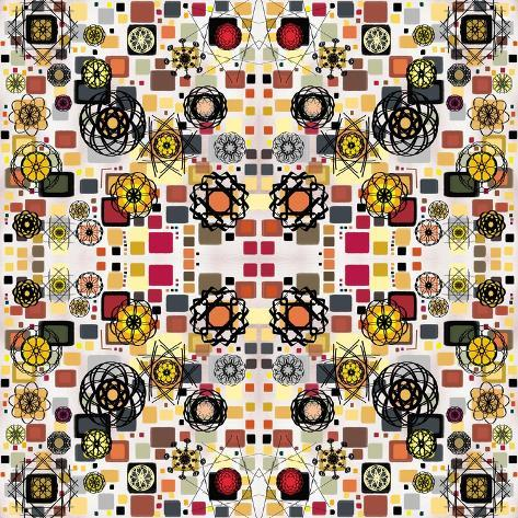 Flowers in Squares Giclee Print