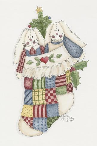 Bunny Stocking Giclee Print