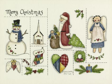 Merry Christmas Collage Giclee Print