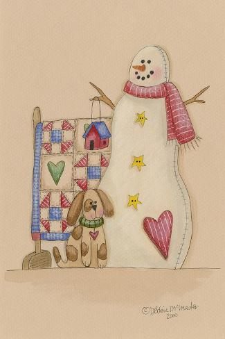 Snowman with Dog Giclee Print