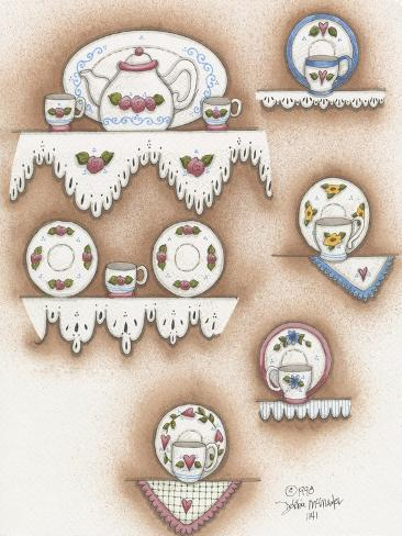 Teapot and Cups Giclee Print