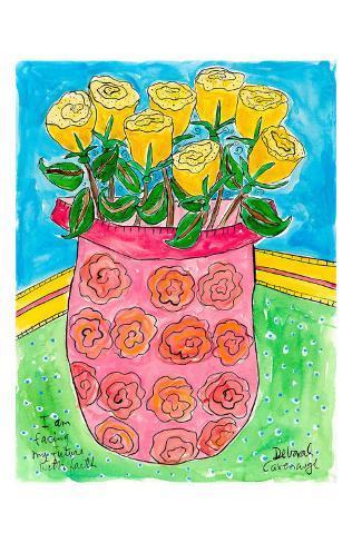 Vase of Yellow Roses Art Print