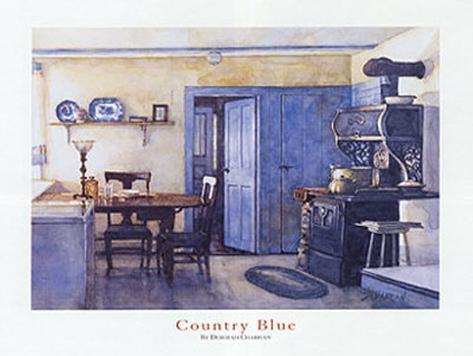 Cucina di campagna in blu Poster di Deborah Chabrian su AllPosters.it