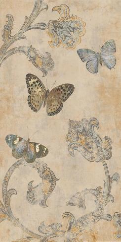 Papillion decoratif ii stretched canvas print by deborah for Poster decoratif