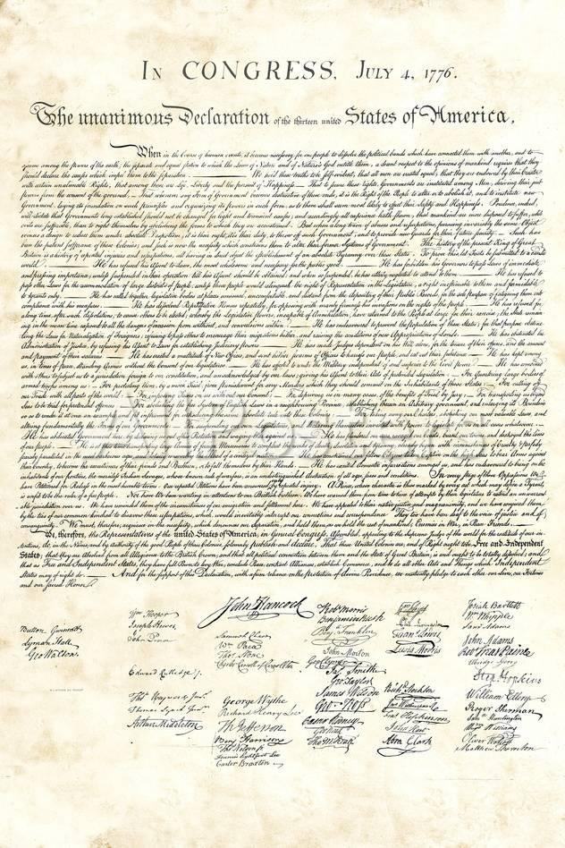 オールポスターズの declaration of independence authentic