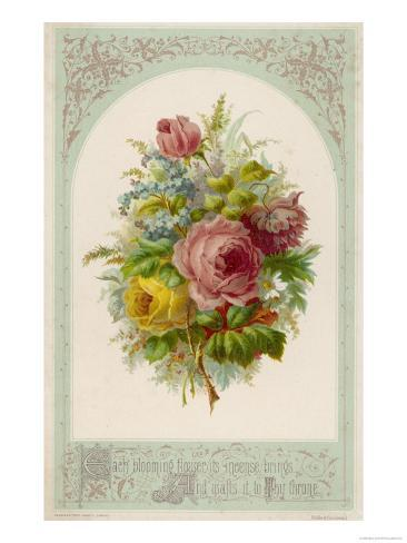 Decorative Arrangement of Roses with Other Flowers Stampa giclée