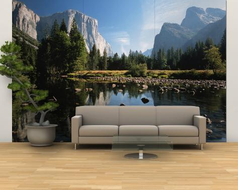 Valley View of El Capitan, Cathedral Rock, Merced River in Yosemite National Park, California, USA Wall Mural – Large
