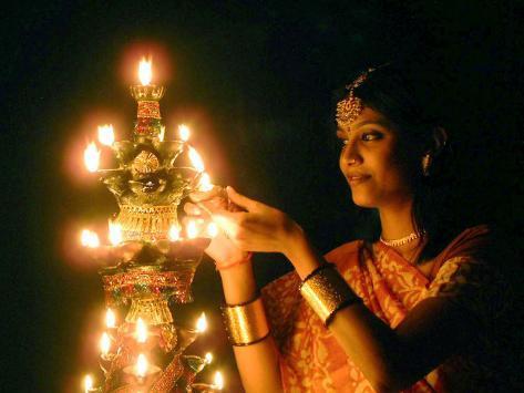 Deepawali Lamps Photographic Print
