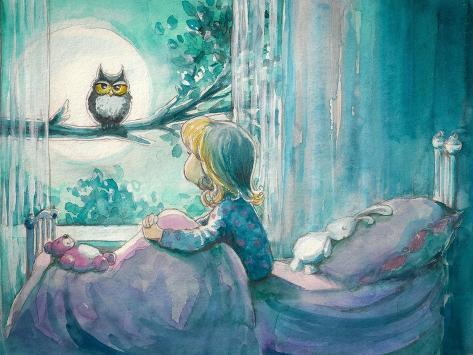 Girl in Her Bed Looking at Owl on a Tree.Picture Created with Watercolors Art Print