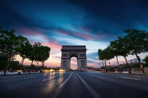 Arc De Triomphe Paris City at Sunset Photographic Print