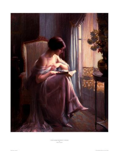 Young Woman Reading by a Window Art Print