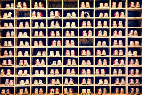 Collection of Bowling Shoes in their Rack Background, Vintage Process Photographic Print