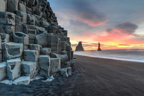 Reynisdrangar on Reynisfjara Beach Photographic Print