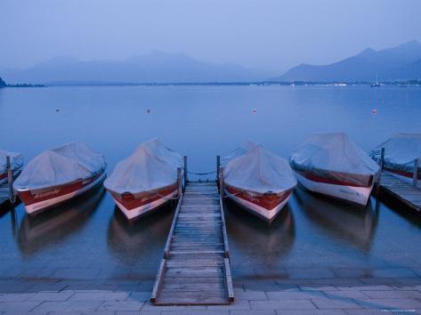 Boats and Lake, Chiemsee, Bavaria, Germany Photographic Print