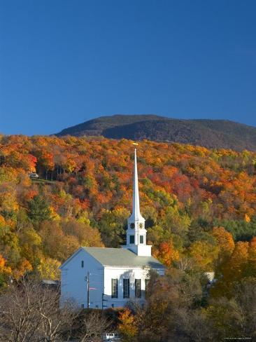 Church at Stowe, Vermont, New England, USA Photographic Print