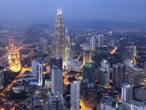 Petronas Twin Towers from Kl Tower, Kuala Lumpur, Malaysia Photographic Print
