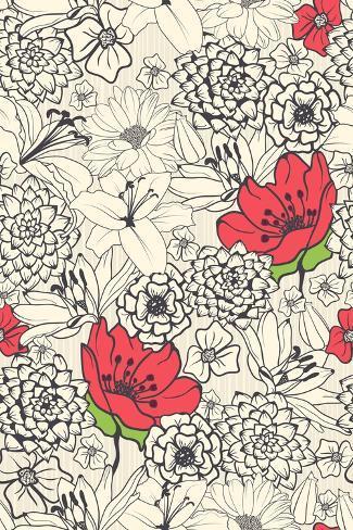 Fiori rossi su sfondo monocromatico Stampa artistica