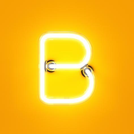 Neon Light Alphabet Character B Font. Neon Tube Letters Glow Effect on Orange Background. 3D Render Art Print