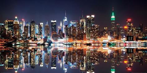 New york city skyline at night prints by deng songquan for Best places to go in nyc at night