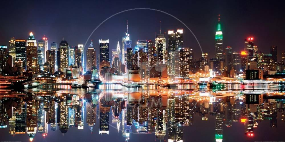 new york city skyline at night poster by deng songquan at allposters com