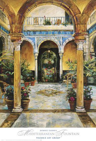Mediterranean Fountain Art Print