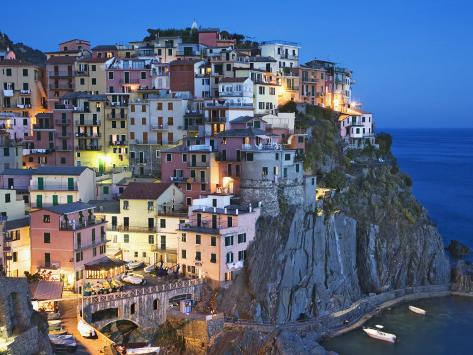 Dusk Falls on a Hillside Town Overlooking the Mediterranean Sea, Manarola, Cinque Terre, Italy Photographic Print