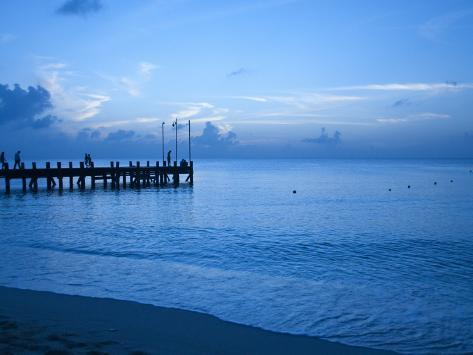 Tourists Watching Sunset from Occidental Grand Cozumel Resort Pier Photographic Print