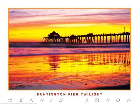 Huntington Pier Twilight Art Print