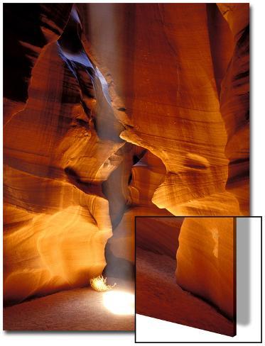 Sun Shining Beam of Light onto Canyon Floor, Slot Canyon, Upper Antelope Canyon, Page, Arizona, USA Art on Acrylic