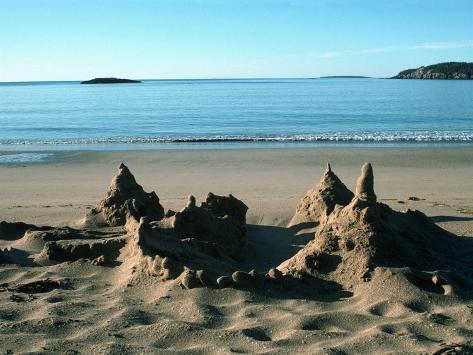 Sand Castle on Beach, Maine Coast, ME Photographic Print