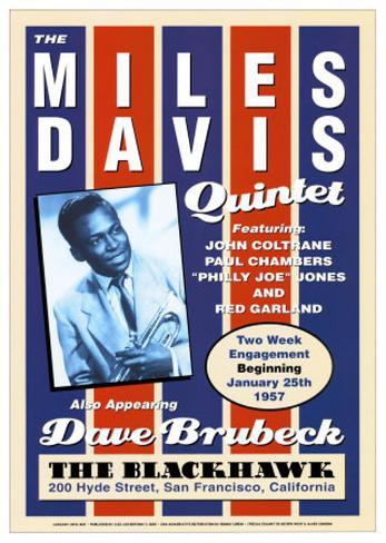 Miles Davis Quintet at the Blackhawk, San Francisco, California, 1957 Framed Art Print
