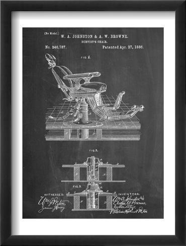 Dentists Chair Patent 1886 Framed Art Print