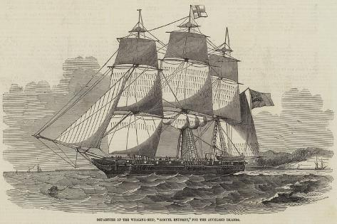 Departure of the Whaling-Ship, Samuel Enderby, for the Auckland Islands Stampa giclée