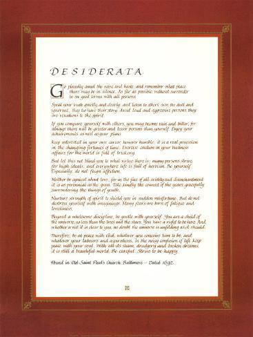 Desiderata Mounted Print