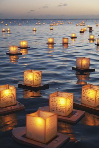 Annual Lantern Floating Ceremony During Sunset at Ala Moana; Oahu, Hawaii, United States of America 写真プリント