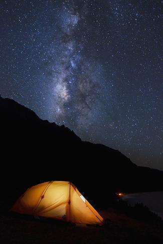 Hawaii, Kauai, Na Pali Coastline and Kalalau Mountains, Ilumminated Tent and Star Filled Sky Photographic Print