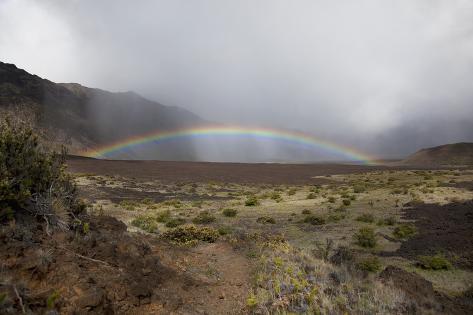 Hawaii, Maui, Haleakala, Crater, a Bright, Colorful Rainbow Photographic Print